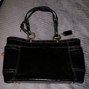 Coach Leather Tote Bag Purse Black